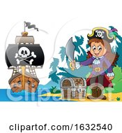 Pirate Girl On A Beach With Treasure And Ship In The Distance