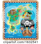 Poster, Art Print Of Pirate Ship And Treasure Island Map