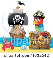 Pirate Parrot On A Beach With Treasure And Ship In The Distance
