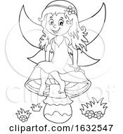 Black And White Fairy Sitting On A Mushroom