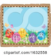 Poster, Art Print Of Parchment Border With Happy Easter Eggs