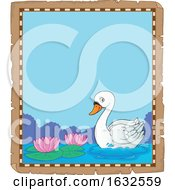 Poster, Art Print Of Swan With Water Lilies Border