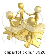Four Gold People Holding Hands While Standing On Connected Gold Puzzle Pieces Symbolizing Teamwork And Interlinking For Seo Website Marketing Clipart Illustration Graphic