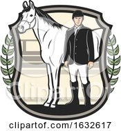 Poster, Art Print Of Equestrian And Horse In A Sheild
