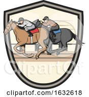 Poster, Art Print Of Jockeys Racing Horses In A Shield