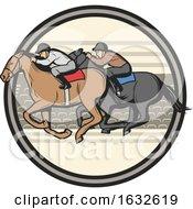 Poster, Art Print Of Jockeys Racing Horses In A Circle