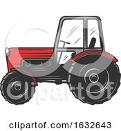 Retro Red Tractor by Vector Tradition SM
