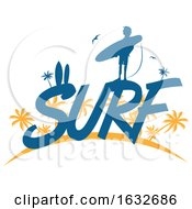 03/04/2019 - Silhouetted Surfer On The Word Surf