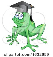 03/04/2019 - Cartoon Frog Wearing A Graduation Cap