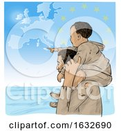 Migrant Father Carrying His Pointing Son On His Shoulders As They Look Over The Sea With A European Map In The Sky