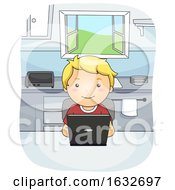 Kid Boy Laptop Kitchen Illustration