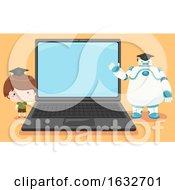 Kid Boy Robot Laptop Education Hat Illustration