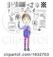 Kid Boy Sketch Science Focus Illustration