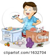 Kid Boy Sort Toys Donate Keep Illustration