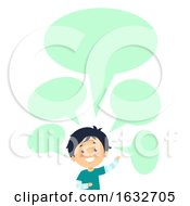 Kid Boy Speech Bubbles Blank Wave Illustration