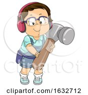 Poster, Art Print Of Kid Boy Toddler Hammer Illustration