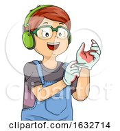 Poster, Art Print Of Kid Boy Wear Safety Protection Woodworking