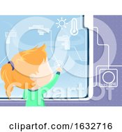Kid Girl Window Smart Interface Illustration
