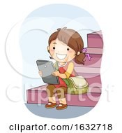 Kid Girl Student Tablet Stairs Illustration