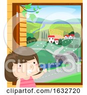 Kid Girl Rural Window Scene Illustration