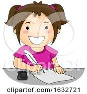 Kid Girl Quill Pen Write Illustration