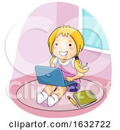 Kid Girl Laptop Floor Illustration
