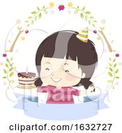 Poster, Art Print Of Kid Girl Birthday Cake Woodland Ribbon