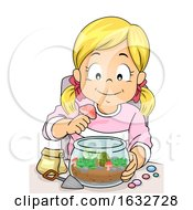 Kid Girl Decorate Terrarium Illustration