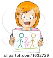 Kid Girl Draw Gay Family Illustration