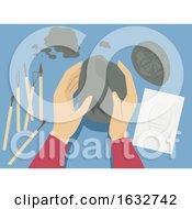Poster, Art Print Of Hands Sculpting Clay Illustration