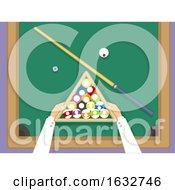 Poster, Art Print Of Hands Billiard Balls Top View Illustration