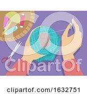 Poster, Art Print Of Hands Darning Illustration