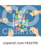Poster, Art Print Of Hands Kids Movable Letters Alphabet Illustration