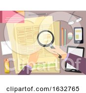 Poster, Art Print Of Hand Auditor Magnifying Glass Illustration
