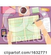 Poster, Art Print Of Hand Ledger Bookkeeping Illustration