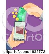 Poster, Art Print Of Hand Money Cellphone Wallet Illustration