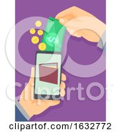 Hand Money Cellphone Wallet Illustration