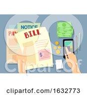 Hand Pay Bills Mobile Illustration