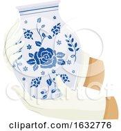Hands Hold Porcelain Jar Illustration