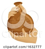 Hands Hold Pot Earthen Jar Illustration