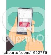 Hand Shopping Cart Mobile Illustration
