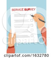 Hands Paper Service Survey Illustration