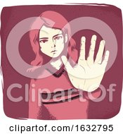 Girl Hand Stop Sign Illustration