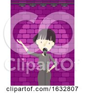 Girl Stand Up Comedian Stage Illustration