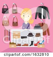Girl Shop Counter Leather Items Illustration