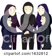 Poster, Art Print Of Girls Hijab Hands In Team Illustration