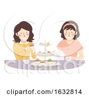 Girls Friend Tea Time Illustration