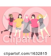 Girls Diversity Unity Illustration