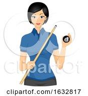 Girl Billiards Ball Stick Illustration