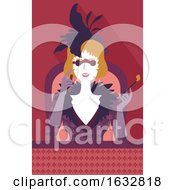 Girl Opera Glasses Watch Illustration